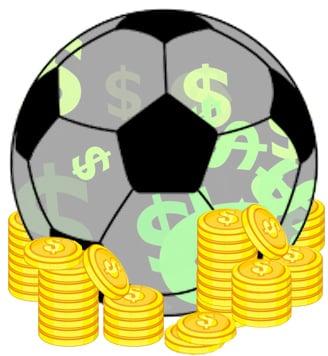 Деньги футбольный мяч и золотые монеты